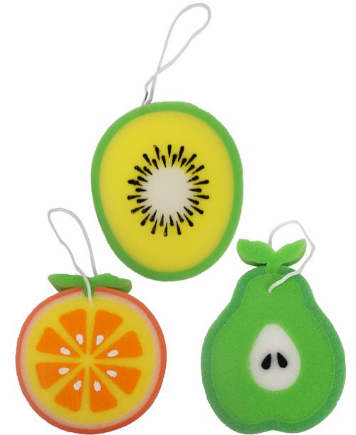 "Set of Fun Novelty Fruit Themed Sponges on Strings - Large 5.5"" Sponges - Great for Kids Bath Time!"
