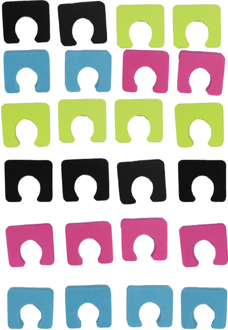 """Set of Colorful Sole Toe Separators - Perfect for Pedicures - Assorted Colors - Measures 1.12""""x1""""x.25"""""""