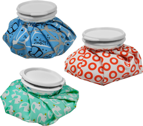 """Set of Fun Themed Reusable Ice Bags - Measures 6"""" - Fill with Cold Ice or Warm Water! - Helps Headaches, Strains, and Bruises!"""