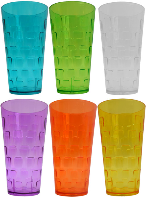 """Set of 24-ounce Plastic Tumblers in Bright Fun Colors - BPA Free - Measures 6.75"""" Tall"""