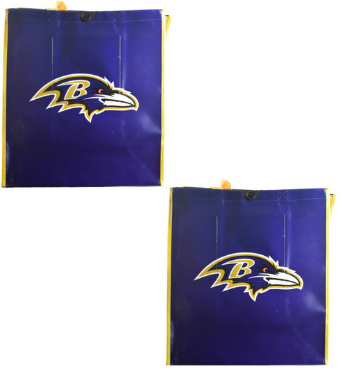 Set of 2 Reusable Baltimore Sports Tote Bags with Inner Pocket and Button Closure! Great for Sports Fans Who Want to Go Green! (2 Baltimore)