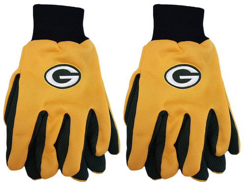 Set of Two Pairs of Green Bay Packers Utility Gloves - Perfect for Keeping your Hands Warm in the Winter - One Size Fits Most