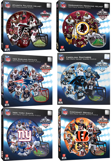"""Football Helmet Shaped Puzzles - 5 Special Pieces - Measures 25""""X22"""" - Thick Quality Pieces"""