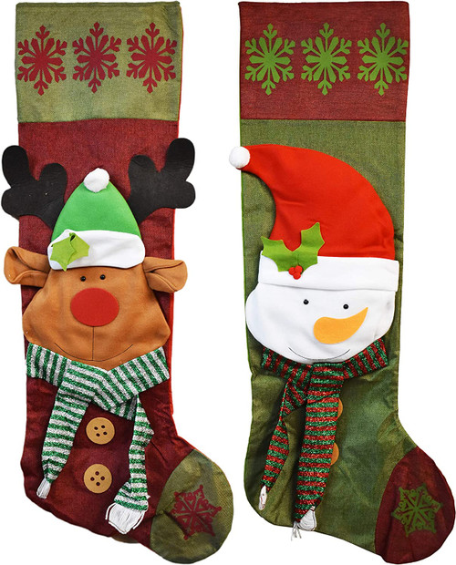 Black Duck Brand Set of Jumbo Giant Christmas Stockings - Measures 4 Feet Tall - Features Fun Snowman and Reindeer Designs