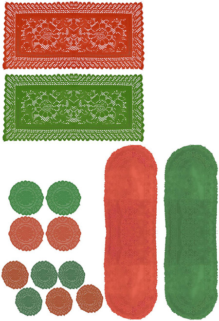 Set of Holiday Themed Fabric Doilies - Runners and Round Lace Doilies - Perfect for Adding a Splash of Design and Color To Your Table