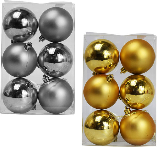 Set of Holiday Ball Ornaments - Features Silver and Gold Ornaments in Matte and Shiny Finishes - Includes Hanging Strings