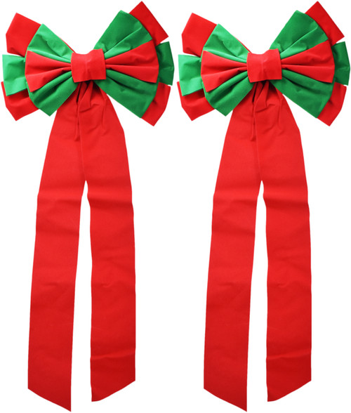 Set of 2 Tall Red and Green Felt Bows - Measures - Wired Back to Attack to Banisters, Walls, and More - 12 Loops and 2 Tails