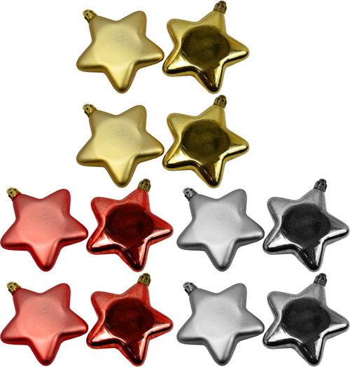 """Set of 12 Star Shaped Christmas Ornaments - Shatterproof - Measures 3.25"""" - Includes String to Hang - Features Matte and Shiny Stars"""