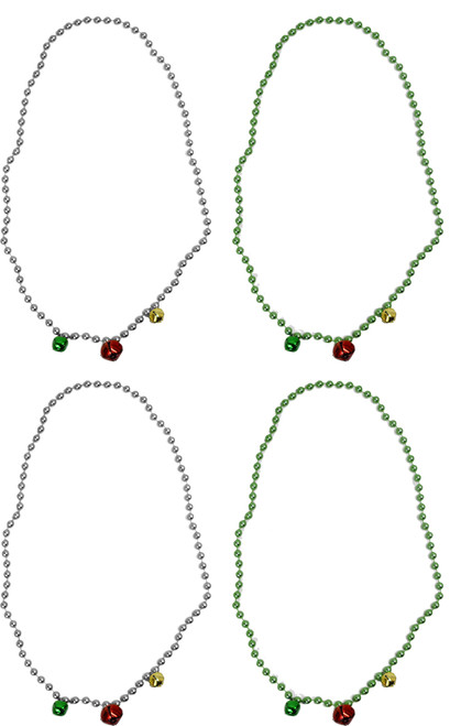 """Set of Assorted Holiday Bead Necklaces - Fun Jingle Bell Necklaces - One Size Fits Most - 16"""" Long (4) Click image to open expanded view  Set of Assorted Holiday Bead Necklaces - Fun Jingle Bell Necklaces - One Size Fits Most - 16"""" Long"""