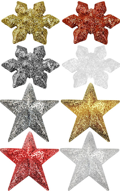 """Set of Glittery Mini Christmas Ornaments - Assorted Colors - Stars and Snowflakes - Measures Just 1.75"""" Tall - Great for Tabletop Christmas Trees"""