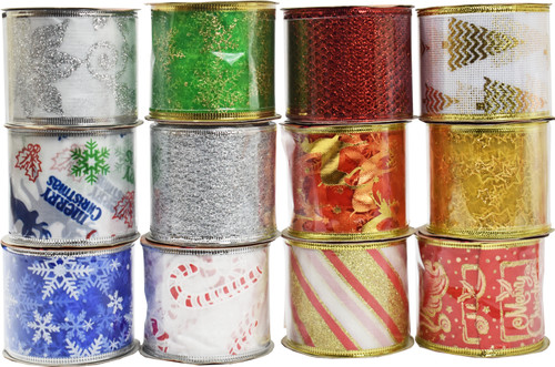 """Set of Winter Holiday Wired Ribbon - Measures 2.5"""" X 3 Yard - Perfect for Wreaths, Crafts, and More!"""