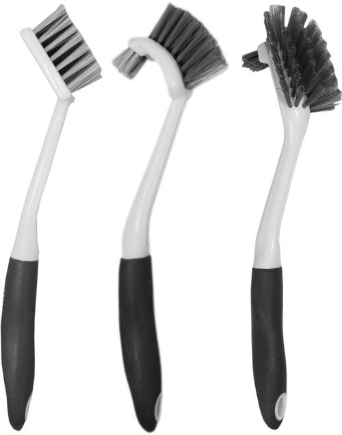 Set of 3 Household Brushes - Rubberized Handle - Strong Stem - Great for Veggies, Dishes, and More