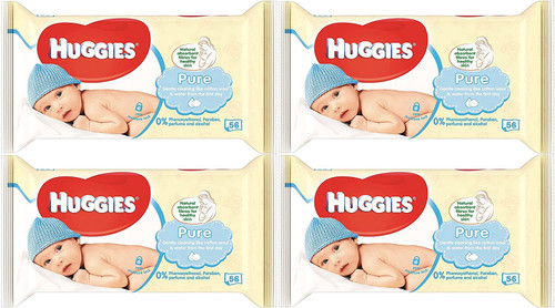 Huggies Pure Baby Wipes - No Perfumes or Alcohol - 99% Water - Natural Fibers