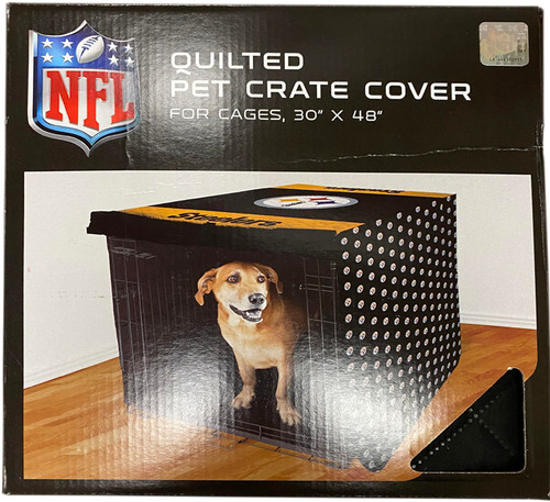 """Quilted Steelers Pet Crate Cover - Measures 30""""x48"""" - Durable, Easy Care Fabric - Provides Security to Your Pets"""
