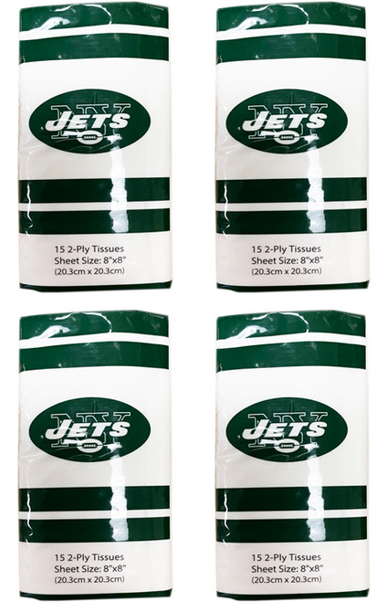 """Set of 4 New York Jets Pocket Tissues - 60 Total Tissues - Each Measures 8""""X8"""""""