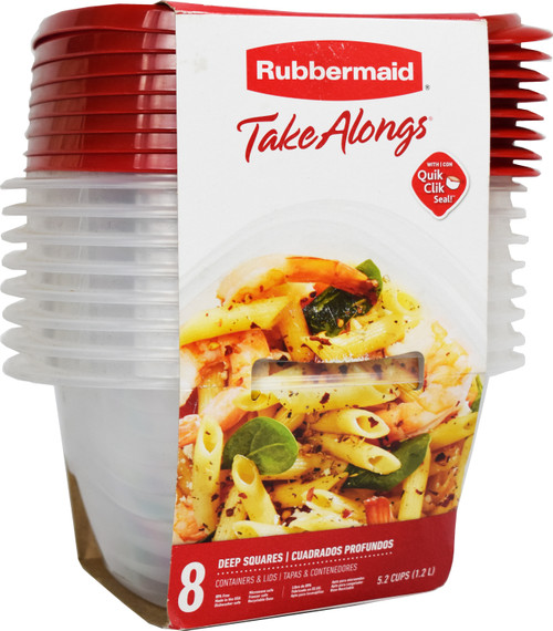 Set of 8 Rubbermaid 5.2 Cup Square Quick Click Lids - Perfect for Meal Prep!