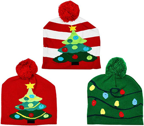 Knit Christmas Hat! Light-Up Functions!