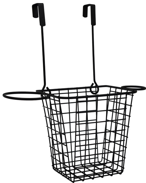 Wire Hanging Bathroom and Cabinet Door Organizer - Has Side Racks to Store Larger Items (Hair Dryer, Brush, Etc.)
