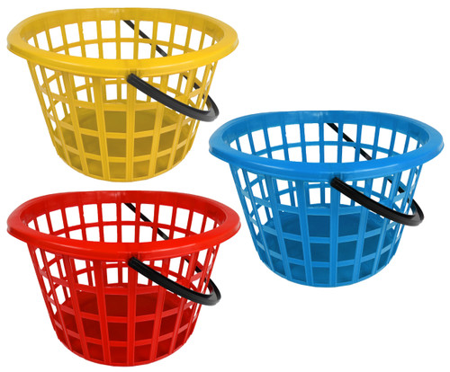 Set of Multi-Use Round Baskets with Handle - for The Beach, Gardening, Toys, The Pool, and More! (6)