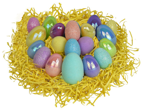 """Pack of Assorted Pastel Glitter Easter Eggs - Stylish - Two Sizes; 2.25"""" and 3"""" Tall"""