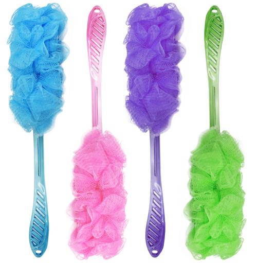 "Set of Useful Colorful Bath Sponge Loofahs With Strings - 17"" Long - Multiple Colors (4)"