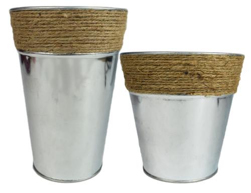 "Set of Iron Planters with Rope Trim - 2 Sizes - 7.36"" H x 5.25"" Dia and 5.75"" H x 6"" Dia - Iron Bucket Vase"