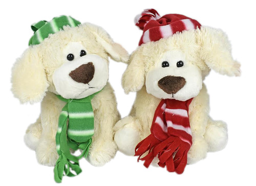 """Set of 2-15"""" Winter Pups with Hat & Scarfs! Plushy and Adorable Stuffed Animals Perfect as a Gift or Holiday Décor!"""
