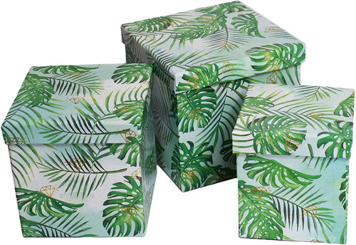 Set of 3 Leaf Pattern Nesting Boxes - Great for Decoration!