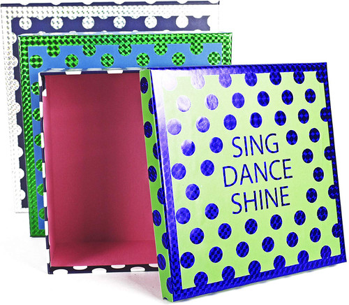 Set of 3 Nesting Boxes with Inspirational Quotes and Polka Dots!