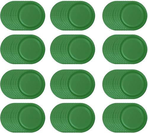 Set of 96 Multisized Diameter Holiday Plates - Emerald Green