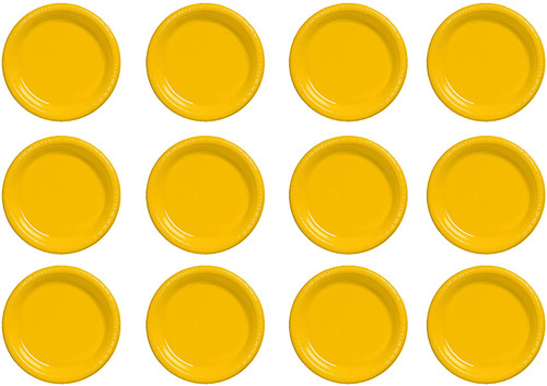 """Set of 96 Party Plates - 6.87"""" - School Bus Yellow"""