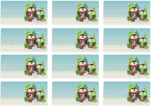 Set of 96 Multisized Diameter Penguin Napkins - Holiday