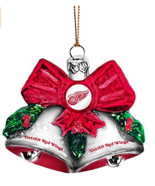 NHL Detroit Red Wings Glitter Bells Ornament