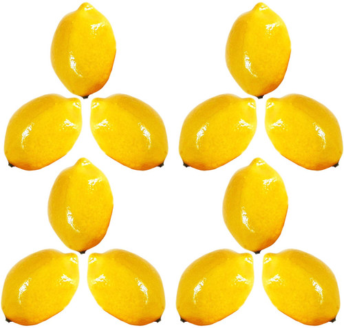 12 Decorative Faux Lemons - Life Size - Accurately Sized and Colored to Replicate real Lemons