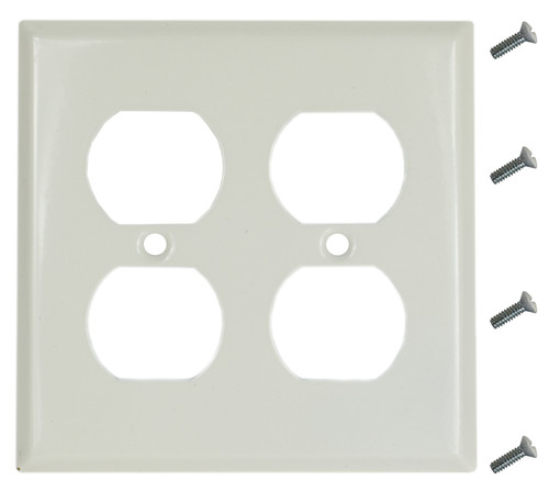 """12 White Smooth Steel Electrical Outlet Covers - 4 Slots - 4.5"""" x 4.5"""" - Wallplate - Includes Screws"""