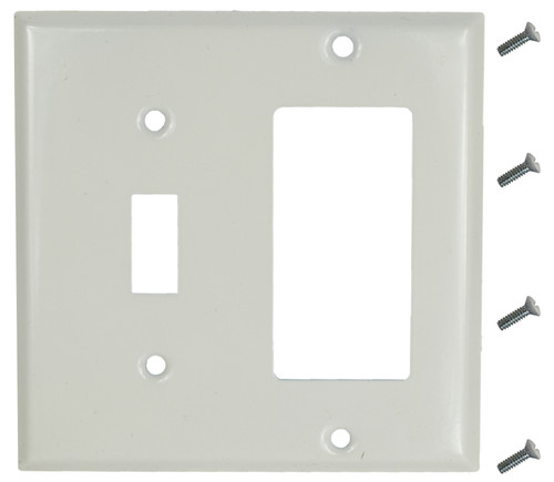 """12 White Smooth Steel Switch Covers - 1 Toggle / 1 Rocker - 4.5"""" x 4.5"""" - Wallplate - Includes Screws"""