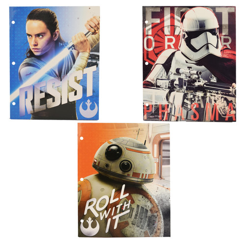 Set of 3 Star War Two Pocket Folders - Hole Punched - 3 Designs - Orange, Red, and Blue - 9.375 L x 11.75 H