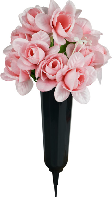 Rose Bouquets - Set of Cemetery Vases with Artificial Rose Flowers - Memorial Flowers