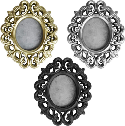 """Set of Ornamental Oval Photo Frames – Gold, Silver, and Black - Photo Size 2.75"""" L x 3.25"""" H – Frame Overall 5.5"""" L x 6.5"""" H"""