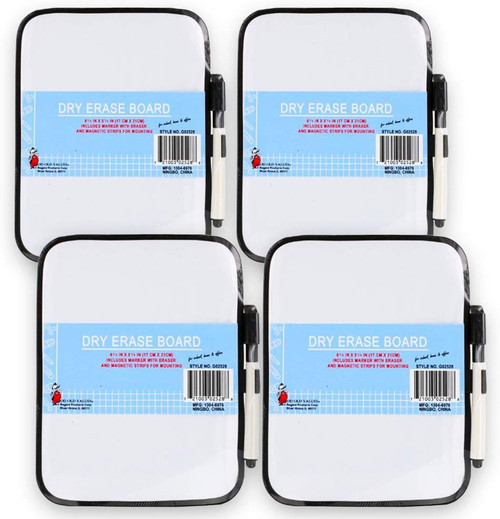 Set of 4 Whiteboard with Magnetic Strips on the Back