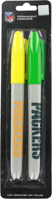 """Set of 2 Green Bay Packers Permanent Markers! Cap Indicates Color - 5.5"""""""