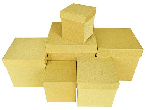 Gold Elegant Decorative Themed Nesting Gift Boxes -6 Boxes
