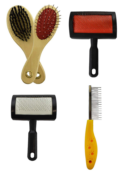 Set of 4 Pet Grooming Brushes