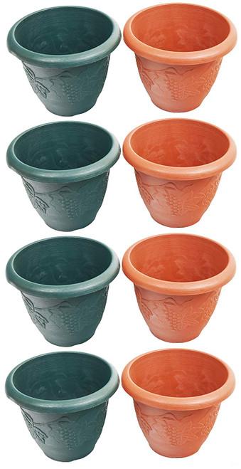 Unique Round Planter/Pots! - Embossed Grape / Woody Design