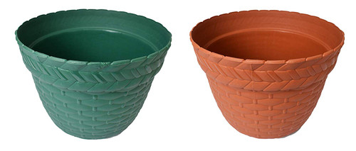 Set of 2 Round Woven Planters! Perfect for Indoor and Outdoor Gardening! Green and Terra Cotta