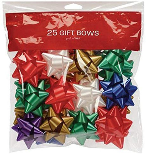 Traditional Star Bow Assortment For Gift Decoration - Peel-n-stick