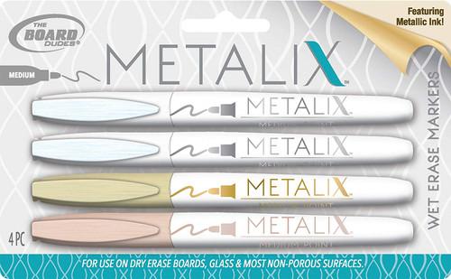 Board Dudes Wet Erase Markers Metallic 4-Count