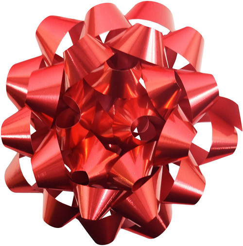 Extra Large 6 inch Peel 'N Stick Bows! - Super Shiny Metallic Red Design - Great for Holiday Gifts!