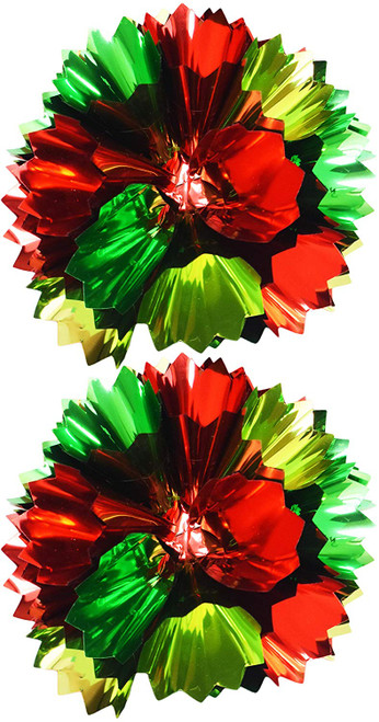 """Medium Sized 4"""" Cone Shaped Gift Bows in Red and Green! Super Metallic Design!"""