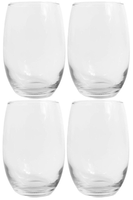Set of 4 stemless wine glasses - 15oz - Clear